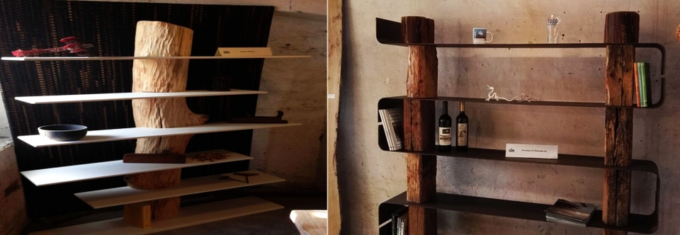 Antoniazzi & Piovesana's chic bookcases made out of raw wood .