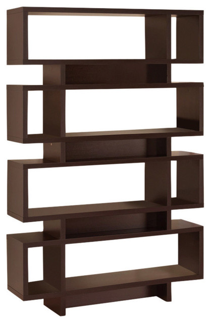 Stupendous Wooden Bookcase With Open Shelves, Brown - Transitional .