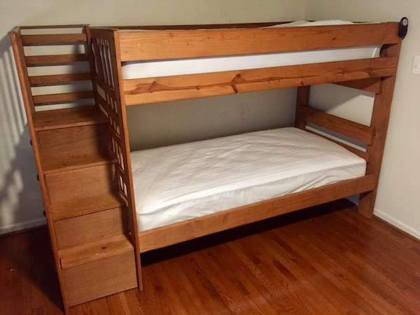 Used Solid Wood Twin Bunk Beds with Stairs/Storage Mattress .