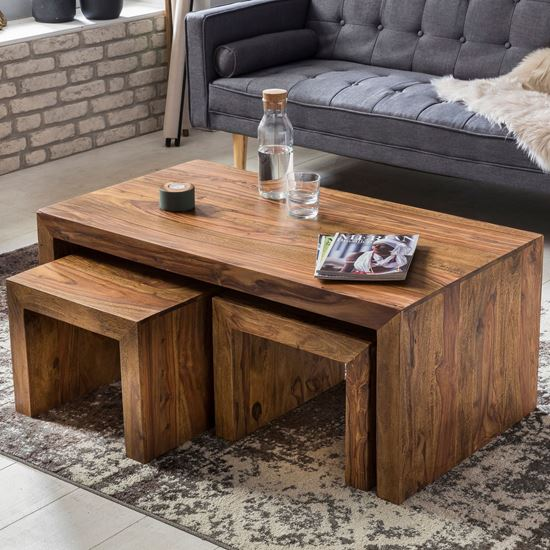 Woodenmood- Selling furniture Online-Solid Wood Nesting Coffee .