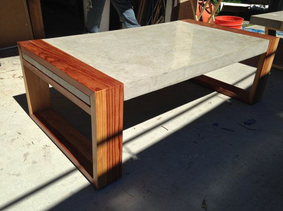 Wood with concrete coffee table | Concrete coffee table, Wood .