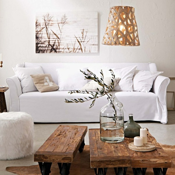 A wooden coffee table in the living room adds warmth and .