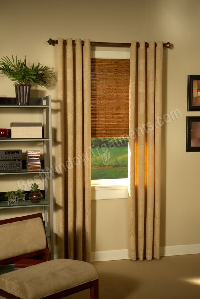 Custom Grommet Drapery panels with wood curtain rod and woven wood .