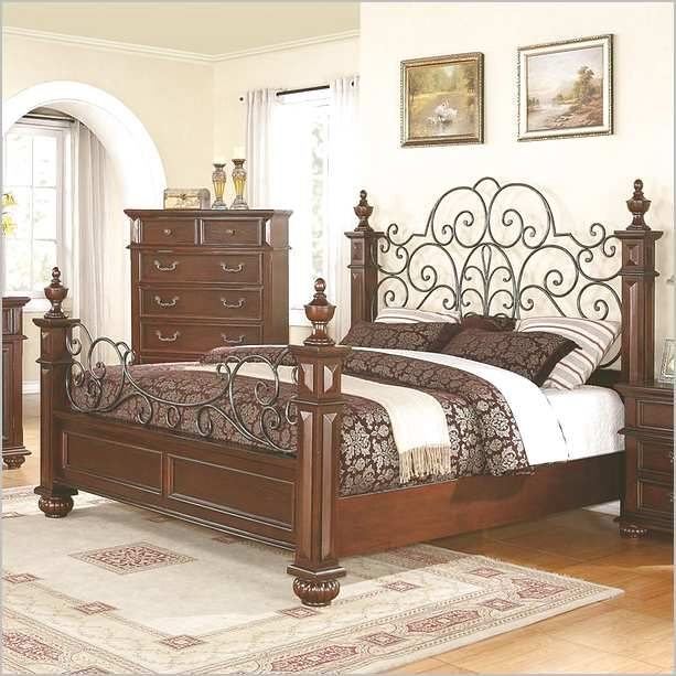 Wood And Wrought Iron Bed Frames | Wrought iron beds, Wrought iron .