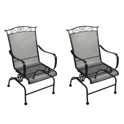 Backyard Creations® Wrought Iron Spring Action Dining Patio Chair .