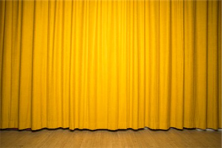 Stage with Yellow Curtains - Stock Photo - Masterfile - Rights .