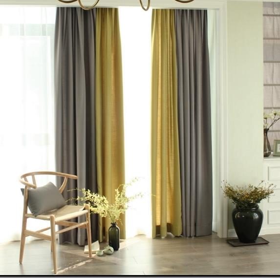 Linen Gray And Yellow Curtains Drapes Living Ro